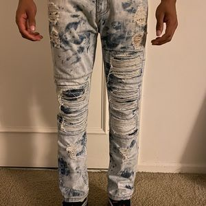 Men's Stone washed distressed jeans